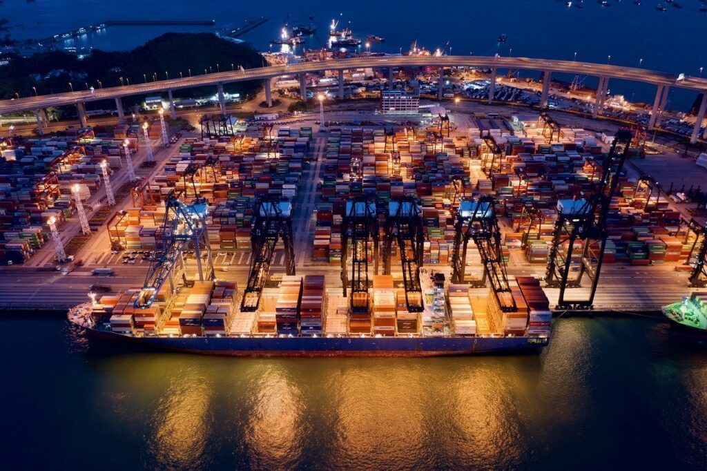 container terminal, container ship, shipping